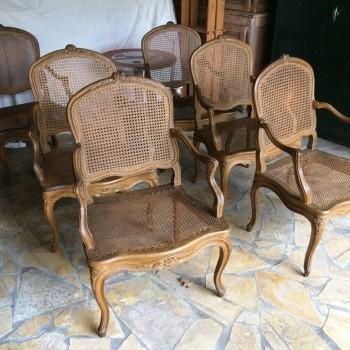 Suite de 6 fauteuils cannés époque 18ème Louis XV